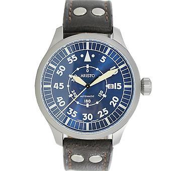 Aristo męskie zegarek nadgarstka zegarek automatyczny niebieski 47 Navigator 3 H 160 skóry