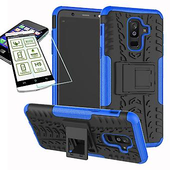 Hybrid case 2 piece blue for Samsung Galaxy A6 plus A605 2018 + tempered glass bag case cover