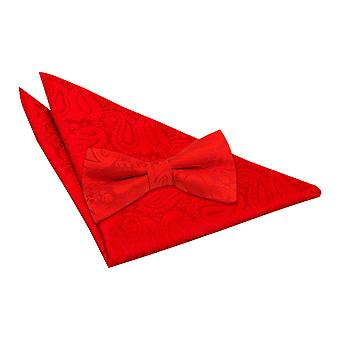 Red Paisley Bow Tie & Pocket Square Set