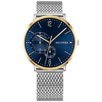Tommy Hilfiger Mens Milanese Stainless Steel Blue Dial Gold Plated Case 1791505 Watch