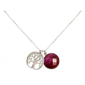 Ladies - necklace - pendants - tree of life - 925 Silver - Ruby - Red - 45 cm