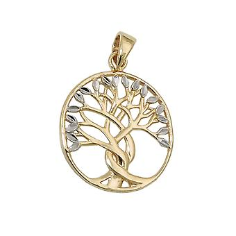 17x16mm tree of life of bicolor 9Kt GOLD pendant