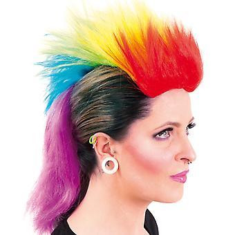 Perücke Punker Einhorn Irokese Regenbogen