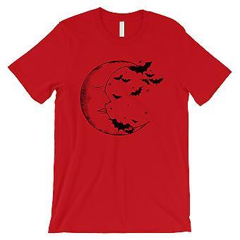 Moon And Bats Mens Red T-Shirt