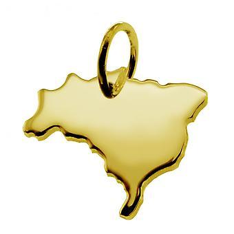 Aanhangwagen kaart hangers in goud geel-goud in de vorm van Brazilië