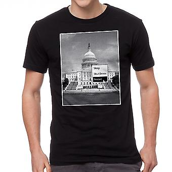 Humor Sleep Shut Down Restart Washington Capitol Graphic Men's Black T-shirt