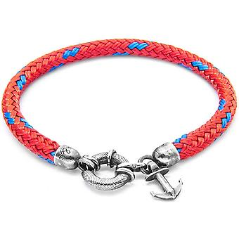 Anchor and Crew Salcombe Silver and Rope Bracelet - Red