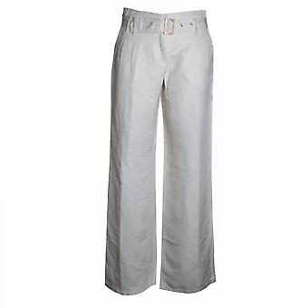 Brax Long Silk And Linen Trousers With Belt