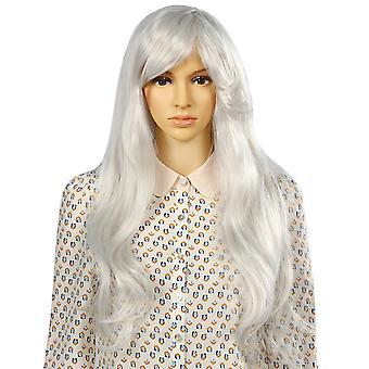 Długi szary TRIXES Wig miękkie fale naturalny wygląd warstw syntetyczne włosy faliste