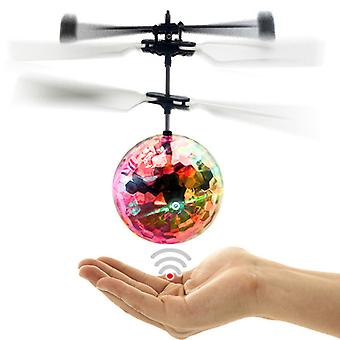 Colorful RC Helicopter remote control steering wheel toys flying ball Radiant Ball Built-in LED lights for Children Teens