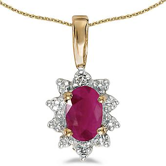 10k Yellow Gold Oval Ruby And Diamond Pendant with 16