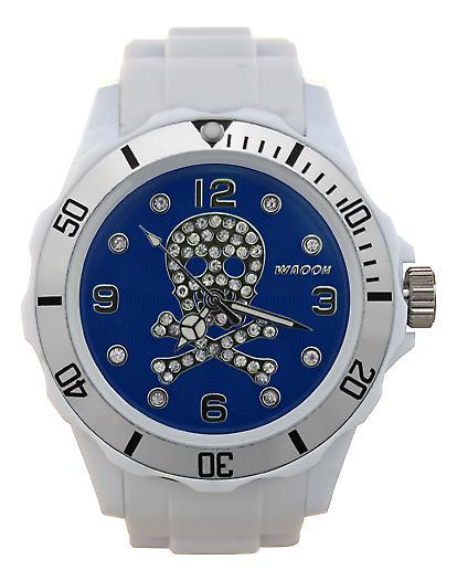 Waooh - Death Watch Rhinestones White Dial Head 39 Color Silver