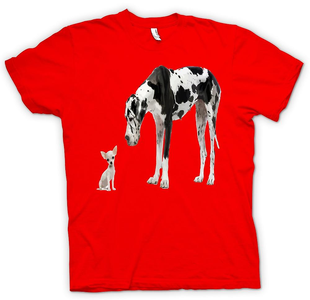 Mens T-shirt - Great Dane And Chihuahua Cut Pet Dogs