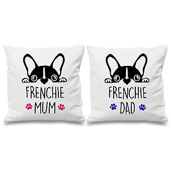 Frenchie Mum Dad White Cushion Covers 16