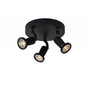 Luz do ponto lucide Jaster-LED teto preto moderno redonda de Metal