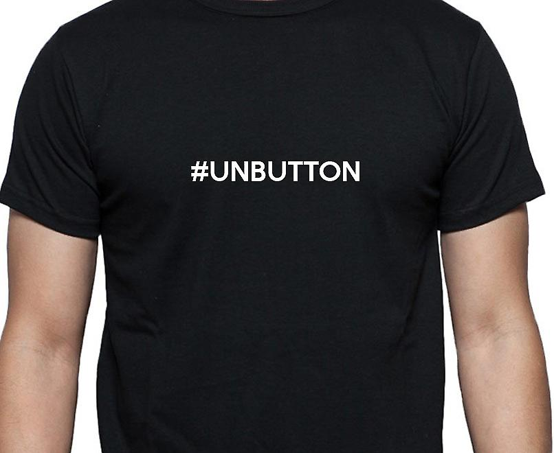 #Unbutton Hashag Unbutton Black Hand Printed T shirt