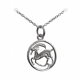 Silver 11mm pierced Capricorn Zodiac Pendant with a rolo Chain 14 inches Only Suitable for Children