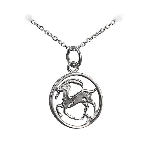 Silver 11mm pierced Capricorn Zodiac Pendant with a rolo Chain 16 inches Only Suitable for Children