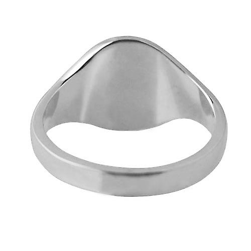 9ct White Gold 14x12mm solid plain oval Signet Ring Size V