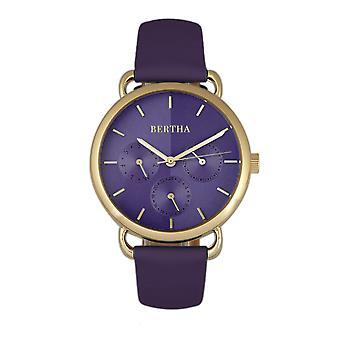 Bertha Gwen Leather-Band Watch w/Day/Date - Purple