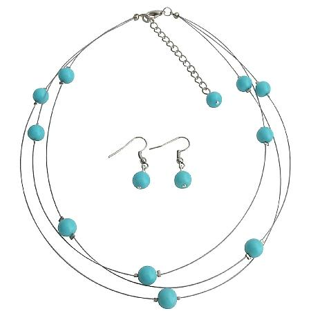 Illusion Floating Turquoise Blue Pearls Three Stranded Necklace Earrings