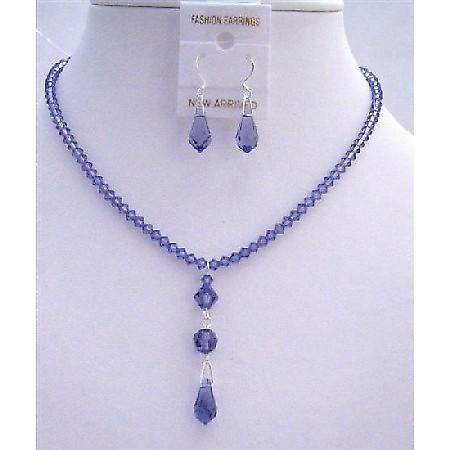 Tanzanite Crystals Wedding Jewelry Swarovski Tanzanite Teardrop Set