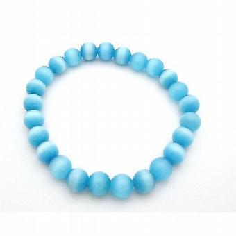 Shine blauwe Jewelry Cat Eye rekbare armband 8mm Cat Eye armband