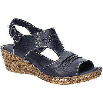 Fleet & Foster Womens Incence Pleated Leather Wedge Sandals