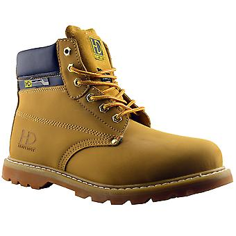 Mens Ankle Boots Safety Leather Lace Up Heavy Duty Dealer Work Shoes