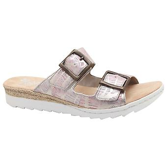 Rieker Double Strap Slide On Sandal With Buckle