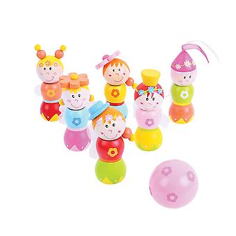 Bigjigs speelgoed Mini houten Fairy Skittles Play Set spel familie Bowling Kids kind