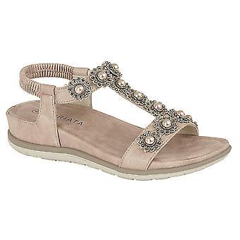 Ladies Womens Sandals Low Wedge Jewelled Elastic Back Slip On Shoes