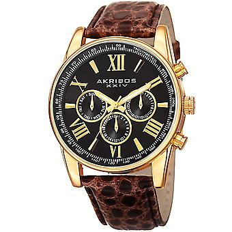 Akribos XXIV AK864YGBR Gold-tone Multifunction Leather Strap Watch