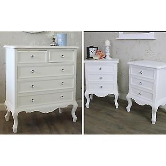 White Bedroom Furniture, Chest of Drawers & Pair of Bedside Tables - Elise White Range