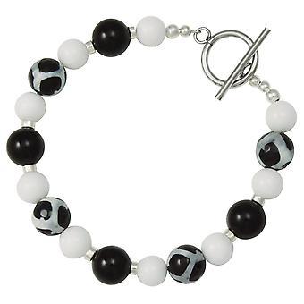 Eternal Collection Portamento Black Agate White Jade Beaded Bracelet