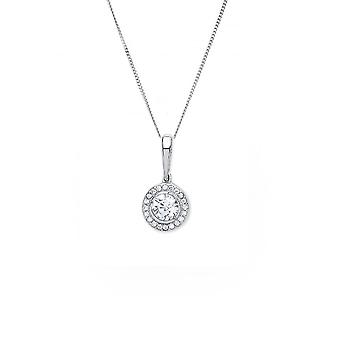 Eternity 9ct White Gold Cubic Zirconia Halo Pendant And Chain