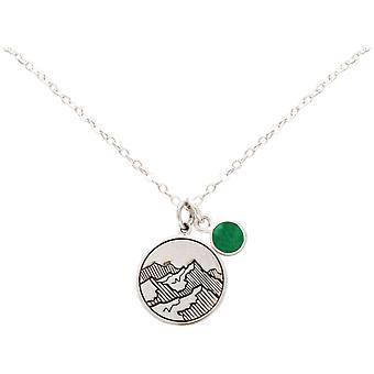 Gemshine Alpin Berg Halskette 925 Silber, vergoldet oder rose - Grüner Smaragd