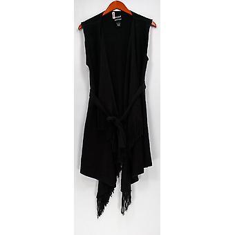 Layers by Lizden Vest Marvelush Vest w/ Fringe Trim Gray A268455