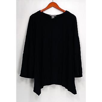 Kate et Mallory Top Aymmetrical Hem Long Sleeve Black A437869