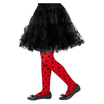 Ladybird Spot strømpebukser, Childs, røde & sort Fancy kjole tilbehør