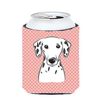 Checkerboard Pink Dalmatian Can or Bottle Hugger BB1210CC