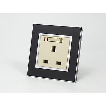 I LumoS AS Luxury Black Mirror Glass Single Switched with Neon Wall Plug 13A UK Sockets