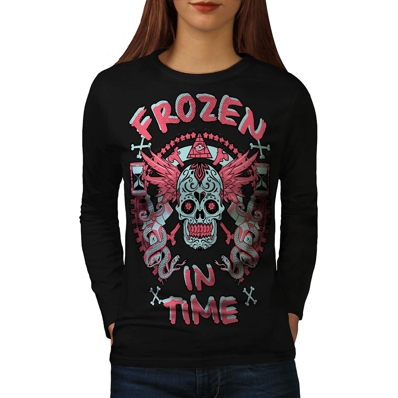 Frozen In Time Skull Secret Gang Women Black Long Sleeve T-shirt | Wellcoda