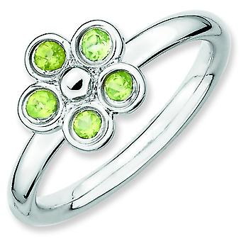 Sterling Silver Bezel Polished Rhodium-plated Stackable Expressions Peridot Flower Ring - Ring Size: 5 to 10