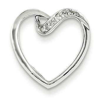 Sterling Silver Rhodium Diamond Heart Pendant - .02 dwt
