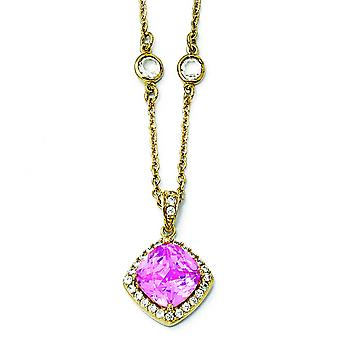 Collier plaqué or Sterling Silver taille Rose Pink Cubic Zirconia Square - 18 pouces