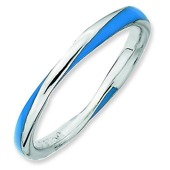 Sterling Silver Twisted Blue Enameled 2.5 x 2.25mm Stackable Ring - Ring Size: 5 to 10