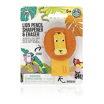 Jungle Pal Lion Pencil Sharpener & Eraser Set