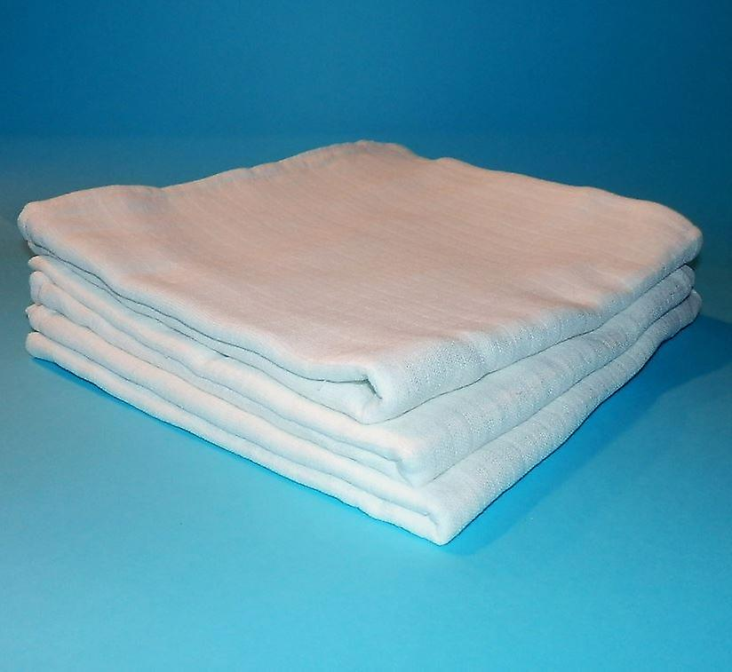 3 x White Baby Muslin Wraps 100 x 100 Squares Swaddling Burp Cloths 100% cotton