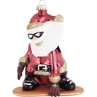 Cool Santa Riding Snowboard Christmas Holiday Ornament Glass